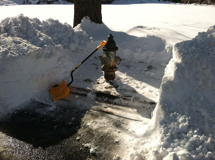 fire hydrant uncovered by snow