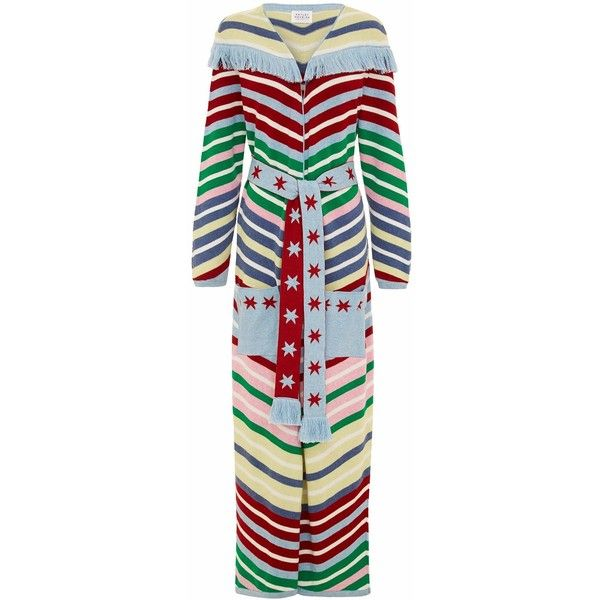 Hayley Menzies - Candy Cane Cardigan ($470) ❤ liked on Polyvore featuring tops, cardigans, long summer cardigan, summer cardigans, cardigan vest, boho cardigan and long fringe vest