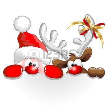 noel illustration: Drôle de Noël de Santa et bande dessinée renne Illustration