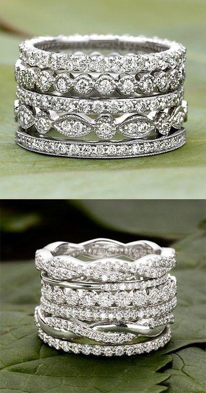 Love these dazzling, diamond wedding bands.