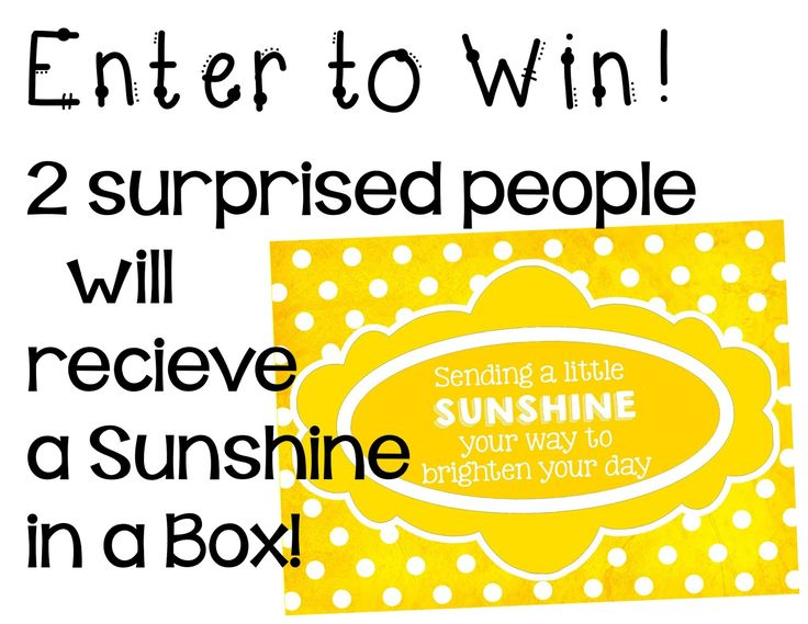 Awesome giveaway- 2 people will receive a Sunshine in a Box!