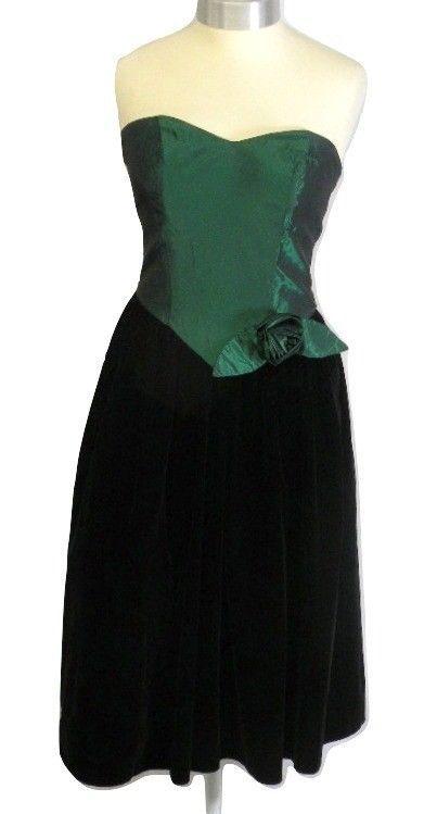 Hamells Petites - green satin - black velvet - off shoulder - size:10