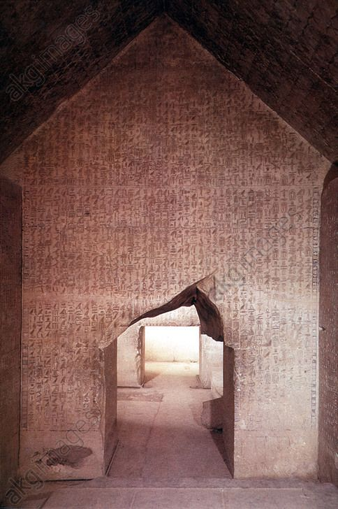 HIEROGLYPHICS IN ANCIENT EGYPT, the 'Pyramid Texts' incised on the walls of the Pyramid of Nesi (Pharaoh) Unas at Saqqara, are the most ancient known, 5th Dynasty.
