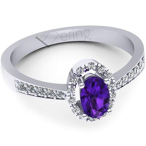 Inel logodna L135AAM cu ametist si diamante