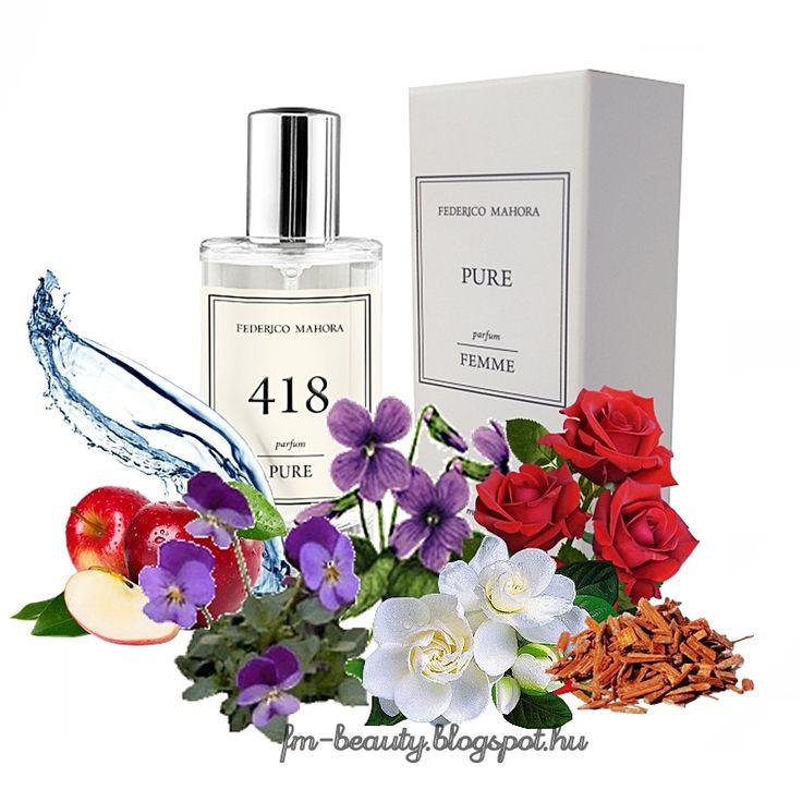 FM418 PURE női parfüm - Nina Ricci - Lair du Temps- szerű illat.  Dinamikus, sikkes, modern, nőies és különleges illat Aldehides jegyekkel.  Illatcsalád: virágos-aldehides. Fejjegyek: alma, akvatikus jegyek, ibolya. Szívjegyek: rózsa, aldehid, gardénia. Alapjegyek: pézsma, szantálfa, ámbra.
