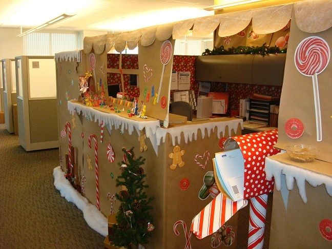office holiday decor. our gingerbread house office cubicle yes we won the contest holiday decor o