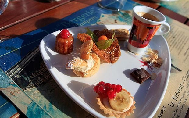 Place of tarts and coffee at Bergerie restaurant, Chamonix