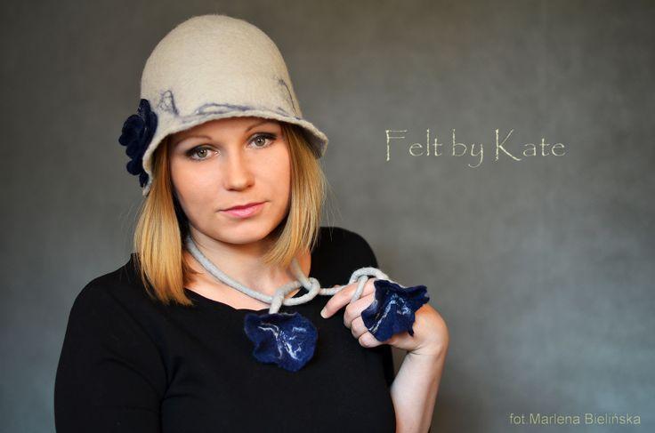 """Merino wool wet felted hat by Katarzyna Milczarek """"Felt by Kate """"  https://www.facebook.com/FeltbyKate/"""