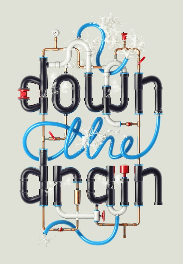 Down the Drain by Alex Beltechi, via Behance