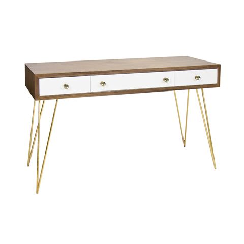 Brent Console With Gold Hairpin Legs   Rosewood Veneer; Gold Leaf Iron Base  High X Long X Deep