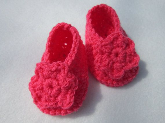 Coral Crocheted Baby Booties Size 6 to 9 by crochetedbycharlene, $9.00