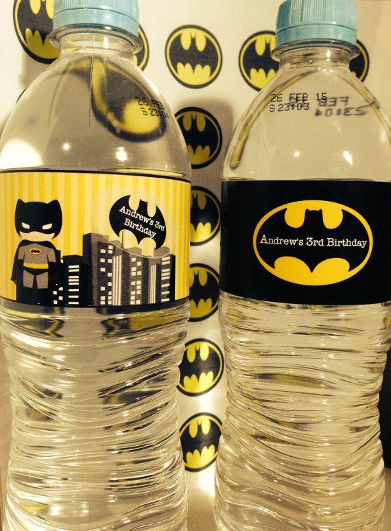 Batman para imprimir fiesta etiquetas agua por LovethisMomentParty
