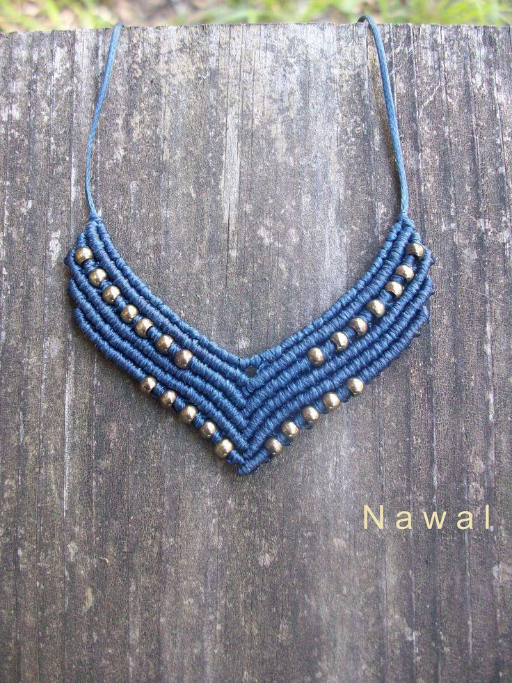 Macrame gipsy pendant - macrame necklace, adjustable length, brass details, boho style, women jewelry!