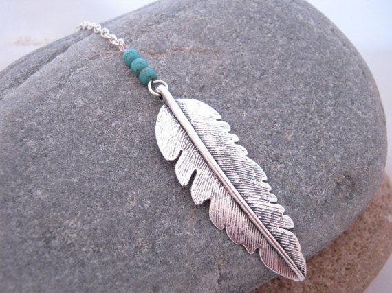 Feather Turquoise Gemstone Long Y Necklace 2017 by AnnethDesigns