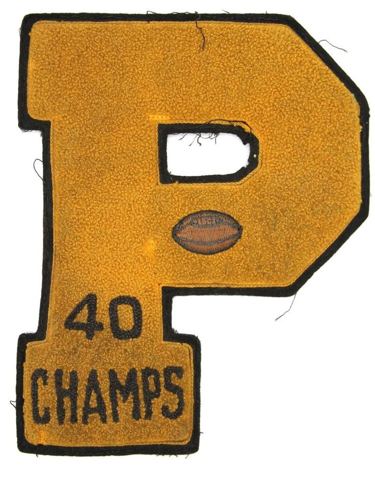"Vintage 1940 High School Varsity Football ""P"" Letter Patch Champs Letterman"