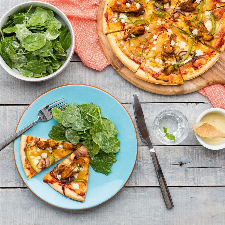 Spiced Chicken and Mango Pizzas with Spinach and Curry Yoghurt