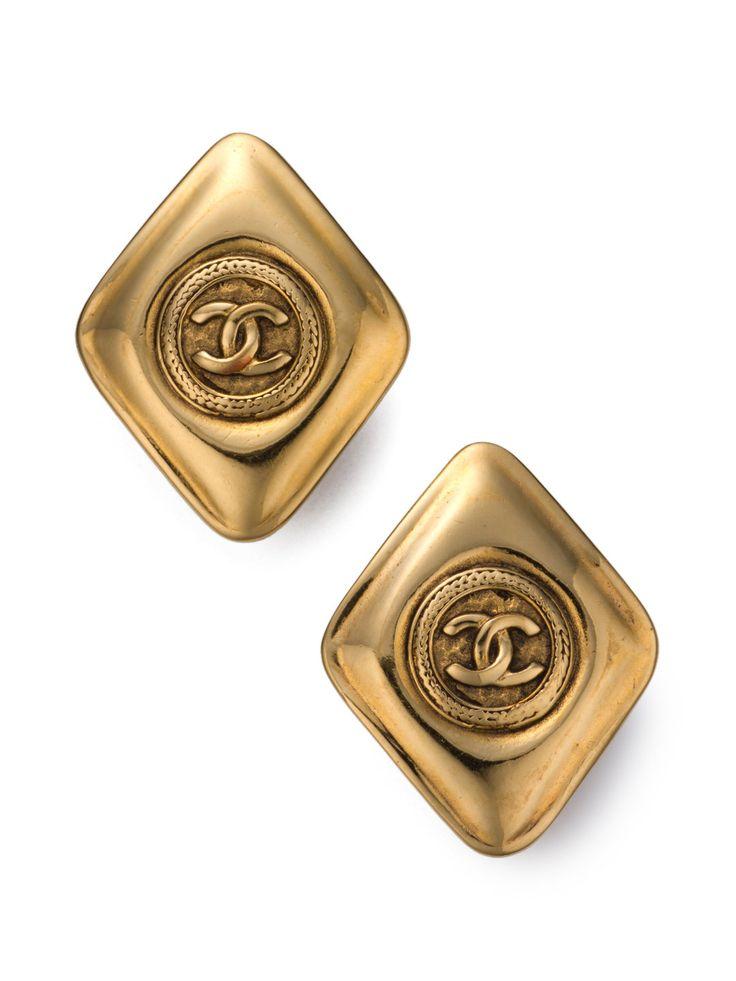 ギルト: ウィメンズ   Luxe Vintage Collection   【USED】CHANEL CCモチーフダイヤ型 イヤリング