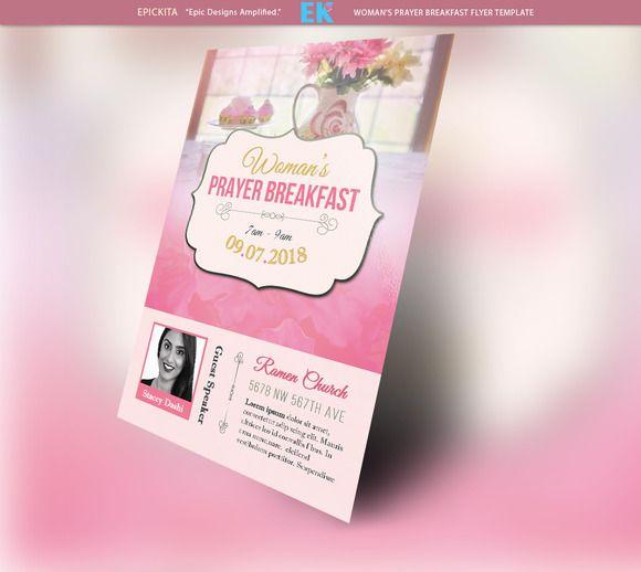 Woman's Prayer Breakfast Flyer by Epickita on Creative Market   #prayerbreakfast #womansday #prayer #breakfast #cute #pink #epickita #elegant #church #gettogether #meeting #library #flyer #template #flyertemplate #womansprayerbreakfast #girly #hangout #group #brunch