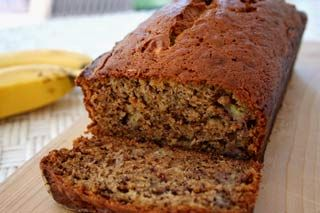 moist, delicious banana bread -- every kid I've fed this to loves it.  Just the right amount of moisture and banana flavor.  It smells incredible while baking too.