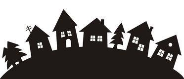 Dorf, Schwarzes Schattenbild – Download von über …