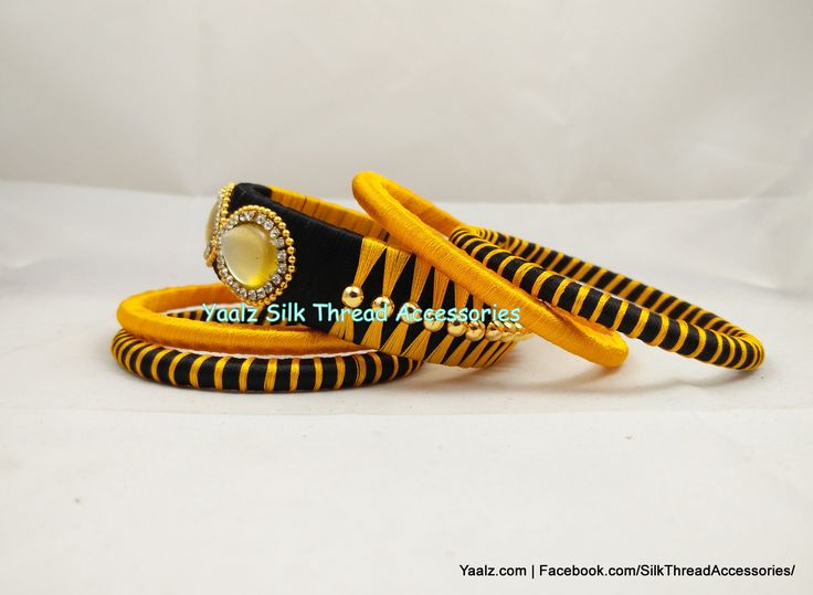 Yaalz Assorted Bangle Set In Golden Yellow & Black Colors !! Price Rs.350 For Orders ping us In WhatsApp +91 8754032250