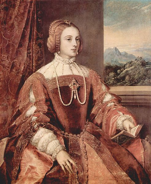 Isabella, Infanta of Portugal, Holy Roman Empress, Duchess of Burgundy, Queen Consort of Spain; by Titian, c. 1548. Her father was Manuel I, King of Portugal. She was married to Charles V, Holy Roman Emperor.