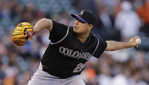 Jorge De La Rosa was scratched off a second consecutive scheduled start Saturday because of a cut on his left middle finger, the team said. Eddie Butler will start in his place. - May 30, 2015 - Colorado Rockies pitcher Jorge De La Rosa. (Ben Margot, The Associated Press)
