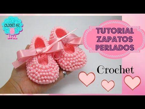 Zapatos perlados para bebé a crochet- todas las tallas - YouTube