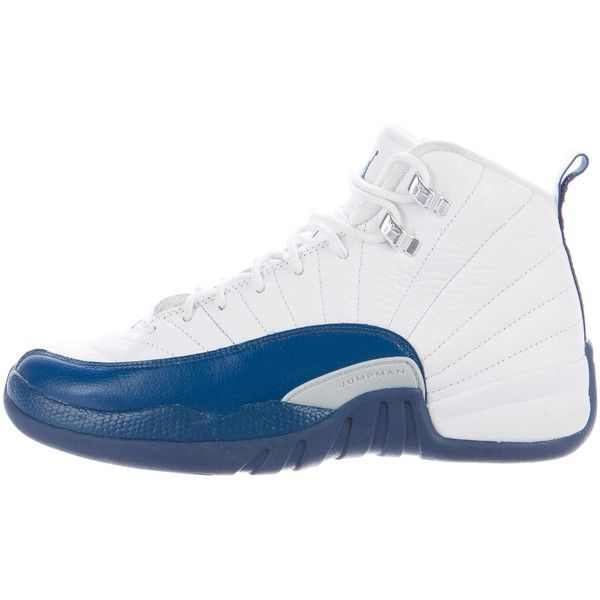 Pre-owned Nike Air Jordan XII Retro French Blue Sneakers ($195) ❤ liked on Polyvore featuring men's fashion, men's shoes, men's sneakers, blue, mens black hi top sneakers, mens retro shoes, mens ties, mens hi top shoes and mens round toe shoes
