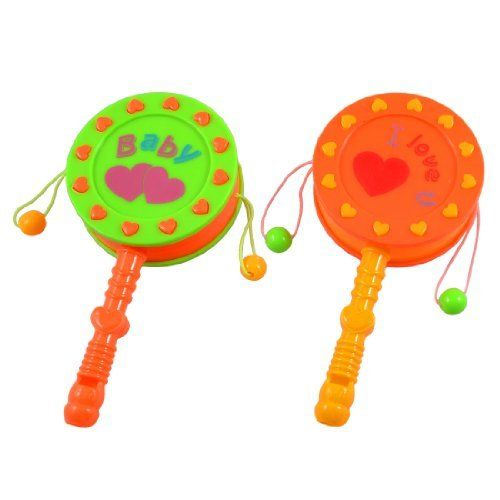 "Como Babies Green Orange Plastic Nonslip Handle Rattle Drum Playing Toy 2 Pcs by Como. $4.30. Product Name : Rattle Drum;Fit for : Babies. Handle Size(each.) : 6.4 x 1.1cm / 2.5"" x 0.4""(L*D);Main Color : Green, Orange, Yellow, etc. Weight : 36g. Main Material : Plastic;Drum Size(each.) : 6.2 x 2.1cm / 2.4"" x 0.8""(D*T). Package Content : 2 Pcs x Rattle Drums. Letters pattern and heart shape printed on two sides. Just spin the handle back and forth, and the little beads will h..."