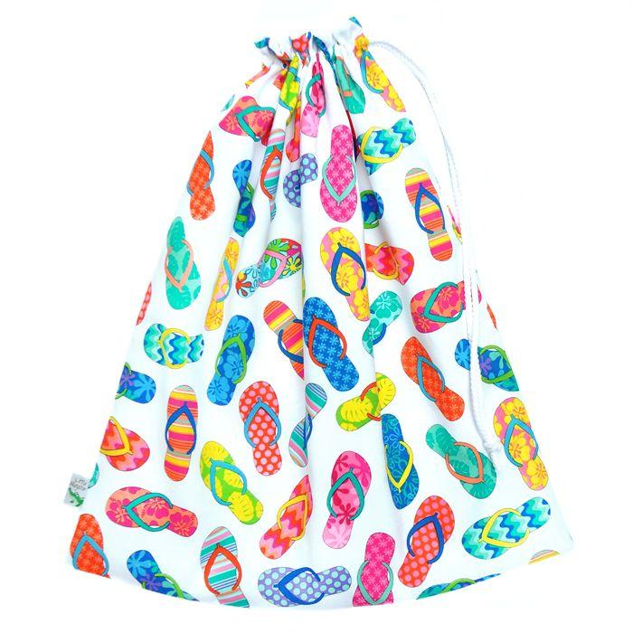 Rainbow Flip Flops Swimming Bag.  Waterproof Wet Bag. Great for the pool or Beach!