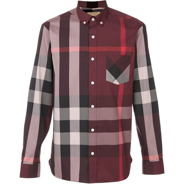 Burberry checked shirt ($314) ❤ liked on Polyvore featuring men's fashion, men's clothing, men's shirts, men's casual shirts, red, mens red shirt, mens checked shirts, mens red checked shirt and mens button front shirts