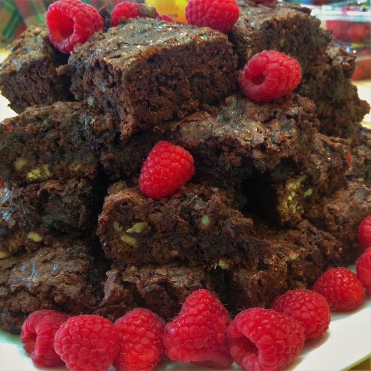 Chocolate Raspberry Brownies. Vegan with no added fat.