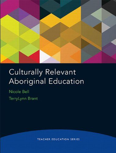 Teacher Education Series: Culturally Relevant Aboriginal Education by Nicole Bell  9th Floor of the Library	E 96.2 B46 2015  http://proxy.library.brocku.ca/login?url=http://search.ebscohost.com/login.aspx?direct=true&db=cat00778a&AN=bu.b2694562&site=eds-live&scope=site