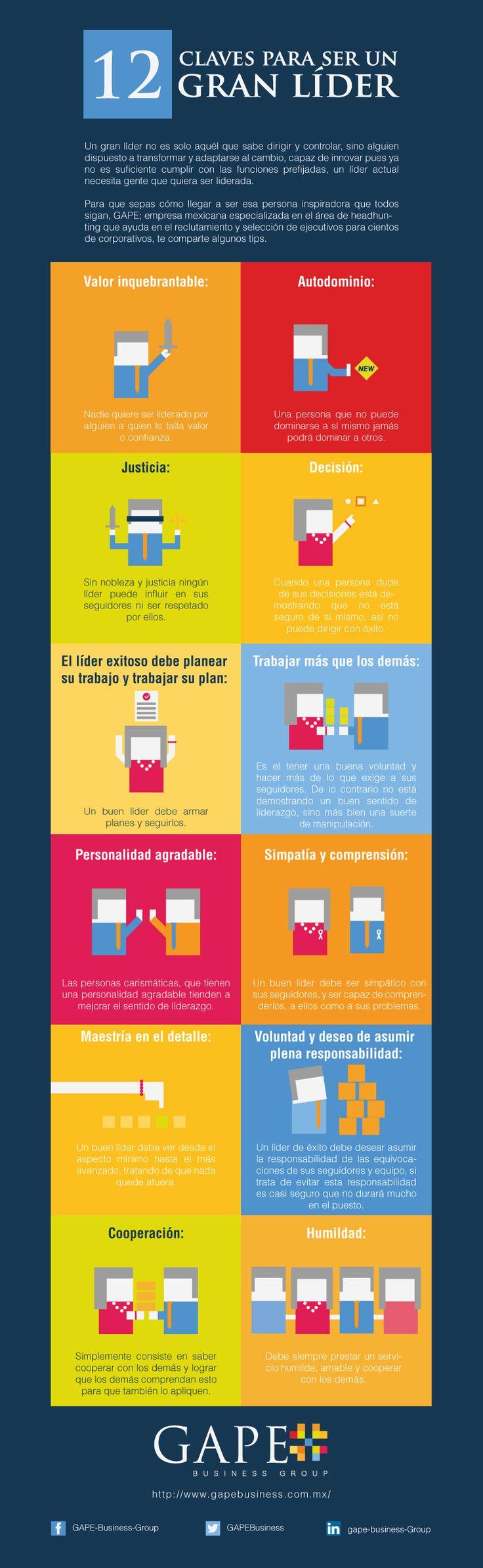 12 claves para ser un gran líder. #infografia