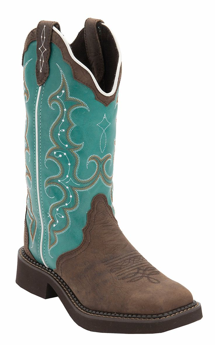 Justin® Gypsy™ Women's Distressed Brown w/Turquoise Top Triad Square Toe Western Boots | Cavender's