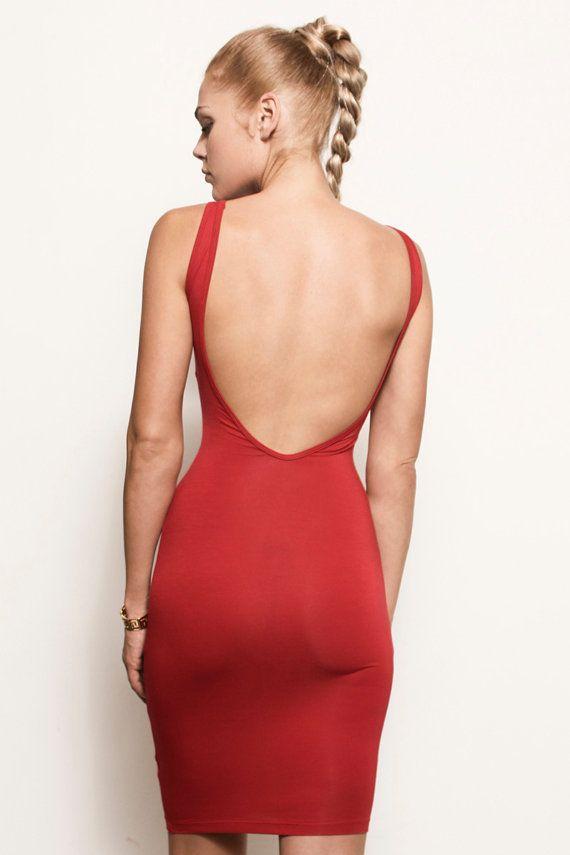 Samantha Backless Open Back Jersey Bodycon Mini Short
