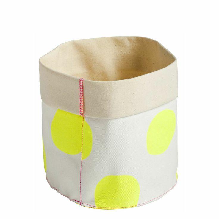 La Cerise sur le Gâteau Small storage basket; Yellow dot.