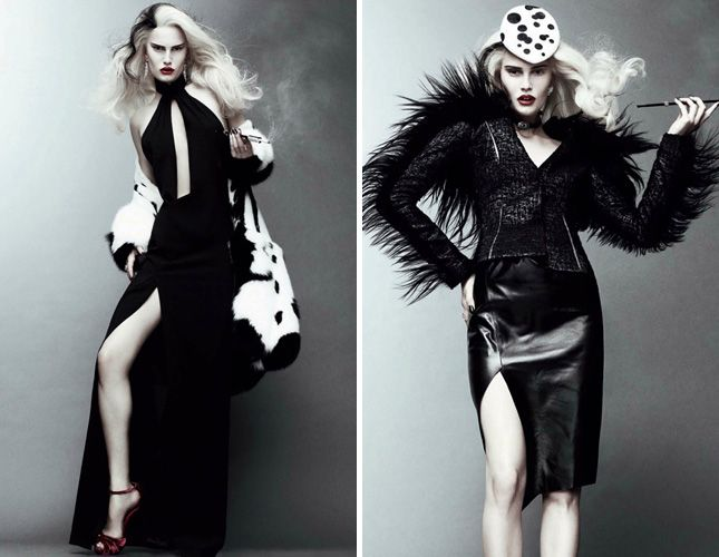 From the pages of Vogue, Modern Cruella de Ville / 11 Scary Costume Ideas via Brit + Co.