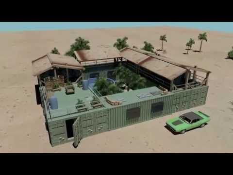 mini compound shipping container house pool - YouTube