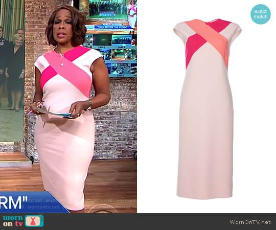 Gayle's pink cross front dress on CBS This Morning.  Outfit Details: https://wornontv.net/85902/ #CBSThisMorning