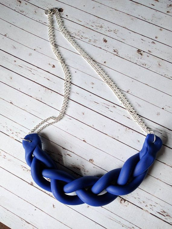 Braided Statement Necklace $16 CDN ships worldwide ❤ https://www.etsy.com/listing/522835389/braided-statement-necklace-royal-blue