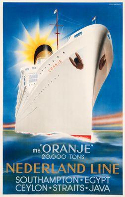 Jean Walther poster: Nederland Line MS Oranje Southampton Eqypt Ceylon