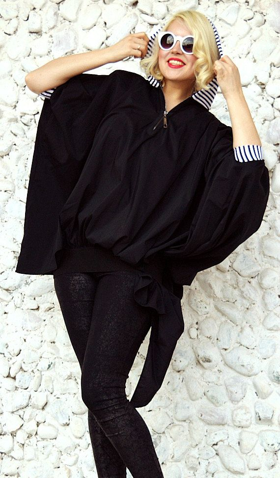 Extravagant Black Top / Asymmetrical Loose Hoodie / Large Black Top with Striped Hood / Loose Hooded Top TT78 / SPRING 2016