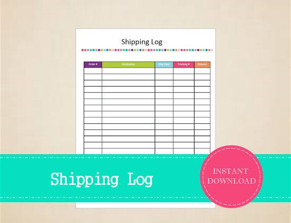 Shipping Log  Business Planner  Printable and by MBucherConsulting