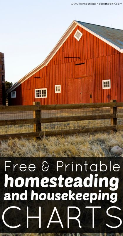 Free homesteading & housekeeping charts! Free is good. :)