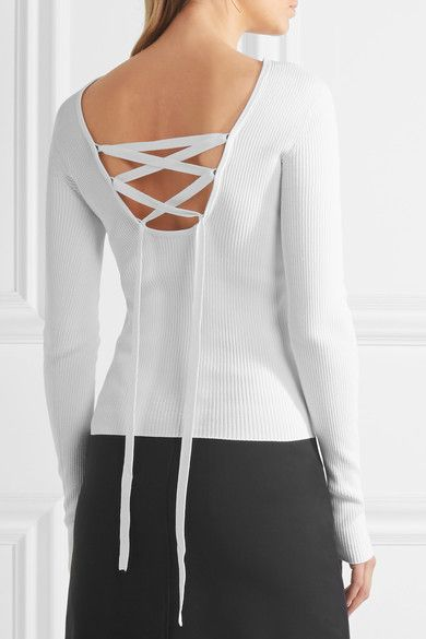 Tibi - Lace-up Ribbed-knit Top - White - x small