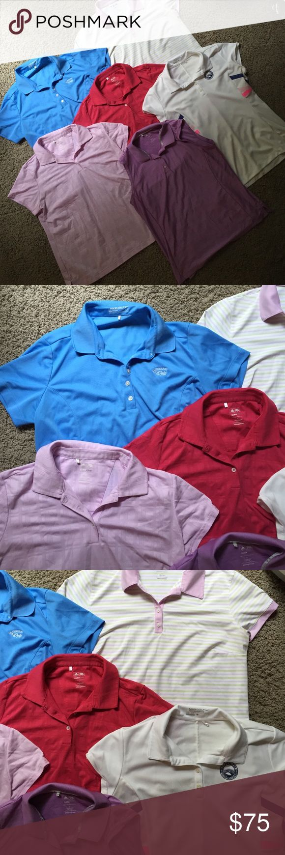 Bundle of six Nike and Adidas women's golf shirts **Willing to separate**1 Adidas sleeveless size large golf shirt in lavender; 2 Nike shirt sleeve golf shirts, size large in cornflower blue and white with pink and purple accents; 3 Adidas short sleeve golf shirts, size large in magenta, light lavender, and white with green and pink stripes Nike Tops Tees - Short Sleeve