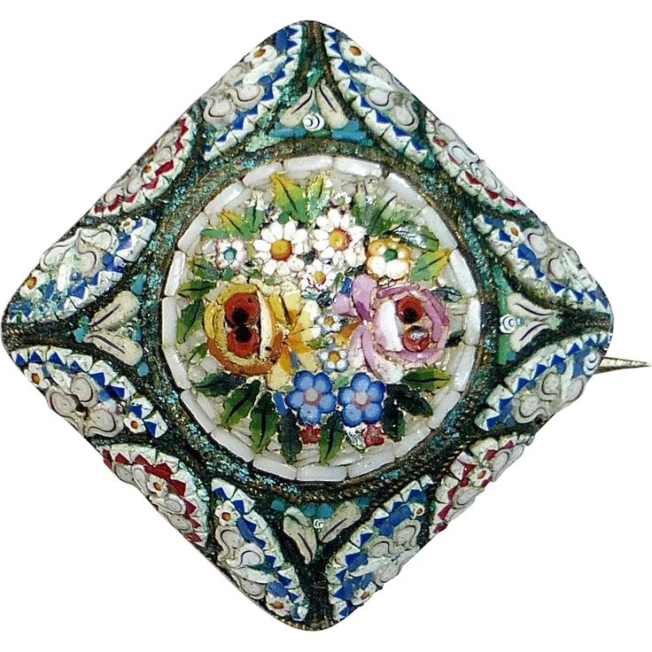 antique italian mosaic | Antique Victorian 800 Silver Floral Micro Mosaic Pin