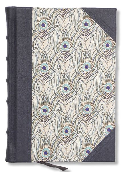 Half leather journal with gold embossed peacock design sides